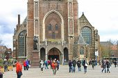 The Central Square And  Church  In Delft. Netherlands