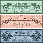 picture of mayan  - Vector of Autumn calendar 2014 with mayan ornaments - JPG