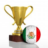 Golden trophy and ball with flag of Mexico isolated