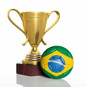 Golden trophy and ball with flag of Brazil isolated