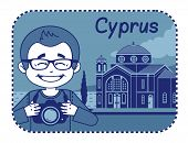 Illustration with Agios Georgios church in Cyprus