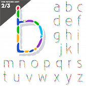 Festive Carnival Font. Multicolored Vector Alphabet. Style Thin Set 2