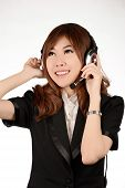 Portrait Of A Smiling Happy Business Woman Call Center Operator