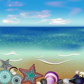 sea inhabitants on a beach sand
