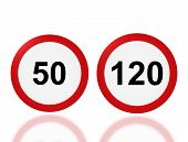 Road Sign Speed Limit 50 And 120