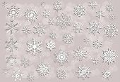 illustration with white snowflakes collection on light background
