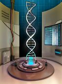 Creating a dna helix in an high technology chamber. Digital illustration.
