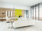 Bright airy living room with rustic decor with wood veneered walls, white painted floorboards, moder