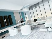 Fresh white and blue living room interior with white painted floorboards, a modern modular white lou