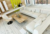 picture of settee  - High angle view of a rustic living room interior with white painted wooden floorboards - JPG