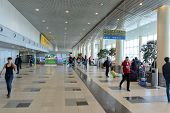 MOSCOW - APRIL 19: Domodedovo airport interior on April 19, 2014 in Moscow. Domodedovo International