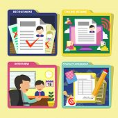 Hr Recruitment Process Icons Set In Flat Design