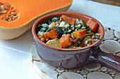 Roasted butternut squash, spinach, blue cheese and pearl barley bake