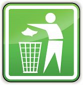 Vector Throw Away Trash Green Sign
