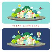 Urban Landscape Illustration In Flat Design