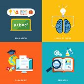 Education And E-learning Icons Set In Flat Design