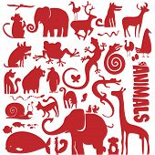 funky animals vector collection - set of different animal silhouettes