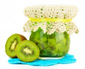 Tasty kiwi jam isolated on white