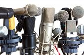 Several Kind Of Conference Meeting Microphones On White