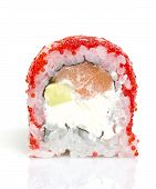 One Peace Of Sushi Roll Isolated On White Background