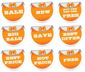 Sale stickers, price tags, labels, orange