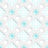 White Snowflakes With Blue Inner Parts Seamless