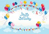Happy birthday background in blue sky with place for text