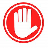 stock photo of hazardous  - Stop sign with human hand - JPG