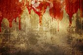 Halloween background. Blood on stucco wall