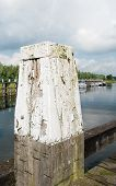 image of bollard  - Closeup of a weathered oak bollard with flaking off white paint and a jetty in a small harbor - JPG