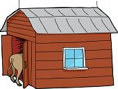 picture of rear-end  - Rear end of horse inside little barn - JPG