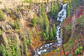 foto of undine  - Undine Falls on an autumn day in Yellowstone National Park of Wyoming - JPG