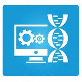 picture of encoding  - bio tech and dna symbol in blue button - JPG