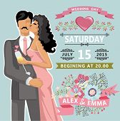 Cute Wedding Invitation With  Floral Element, Bride, Groom