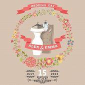 Cute Wedding Invitation With Wedding Wear And Floral Wreath