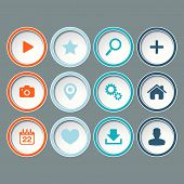 Icons set for web design, websites on gray background.
