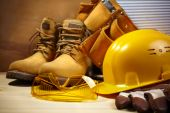 stock photo of industrial safety  - industrial concept with tools and equipment selective focus on nearest - JPG