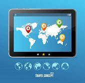 Vector tablet map and globe set. infographics