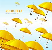 Vector colorful yellow umbrellas flying high