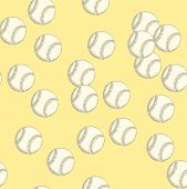 Sketch Baseball Ball, Vector Seamless Pattern