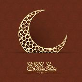 Golden crescent moon with arabic islamic calligraphy of text Eid Mubarak celebrations for muslim com