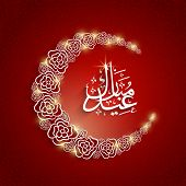 Shiny floral decorated crescent moon with arabic islamic calligraphy of text Eid Mubarak on red back