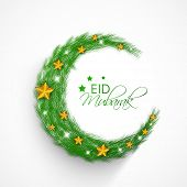 Beautiful crescent moon decorated with stars and fir trees on grey background for muslim community f