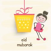 Hanging yellow gift box by pink ribbon with cute girl doodle on beige background for muslim communit