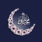 Shiny floral decorated crescent moon with arabic islamic calligraphy of text Eid Mubarak on blue bac
