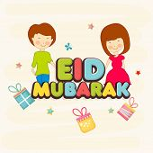 Muslim community festival Eid Mubarak celebrations greeting card design with colorful text and cute