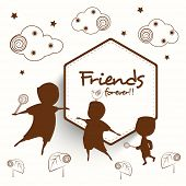 Happy Friendship Day celebrations concept with brown silhouette of kids on creative abstract backgro