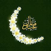 Beautiful flowers design decorated crescent moon with arabic islamic calligraphy of golden text Eid