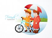 Cute little boys with blue bicycle with umbrella on nature background for Happy Friendship Day celeb