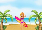 Illustration of a female surfer at the beach